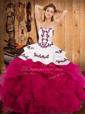 Captivating Hot Pink Strapless Lace Up Embroidery and Ruffles Quinceanera Dresses Sleeveless