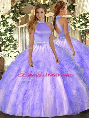 Luxurious Organza Halter Top Sleeveless Backless Beading and Ruffles 15th Birthday Dress in Lavender