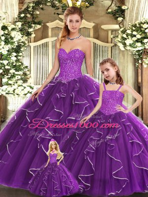 Luxury Purple Sleeveless Floor Length Beading and Ruffles Lace Up Quinceanera Dress