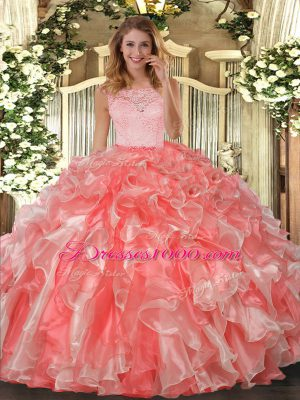 Fitting Coral Red Ball Gowns Lace and Ruffles Sweet 16 Dress Clasp Handle Organza Sleeveless Floor Length