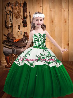 Dark Green Sleeveless Embroidery Floor Length High School Pageant Dress