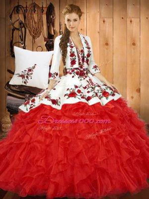 Red Lace Up Quinceanera Gowns Embroidery and Ruffles Sleeveless Floor Length