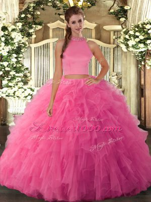 Lovely Hot Pink Tulle Backless Halter Top Sleeveless Floor Length Quinceanera Dresses Beading and Ruffles