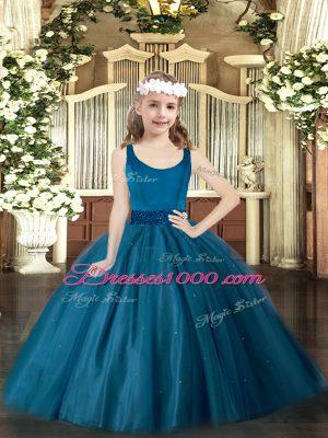 Sleeveless Floor Length Beading Zipper Kids Formal Wear with Teal