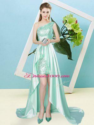 Fantastic Floor Length Apple Green Prom Dresses One Shoulder Sleeveless Lace Up