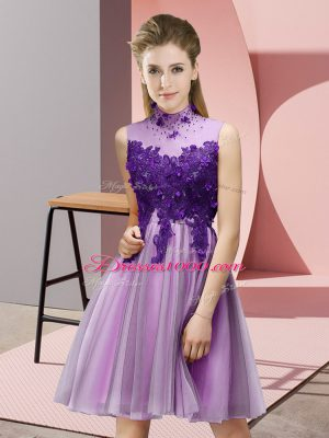 Dazzling Knee Length Lace Up Wedding Guest Dresses Lilac for Prom and Party and Wedding Party with Appliques