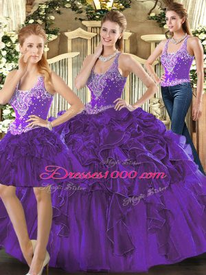 Sweet Purple Sleeveless Tulle Lace Up Quinceanera Dresses for Military Ball and Sweet 16 and Quinceanera