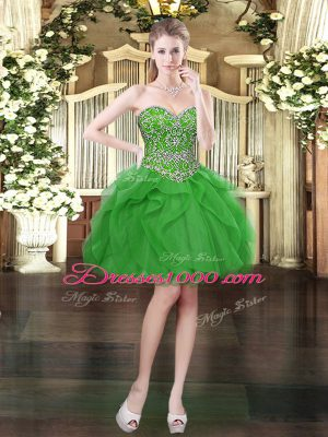 Custom Design Mini Length Lace Up Juniors Party Dress Green for Prom and Party with Beading and Ruffles