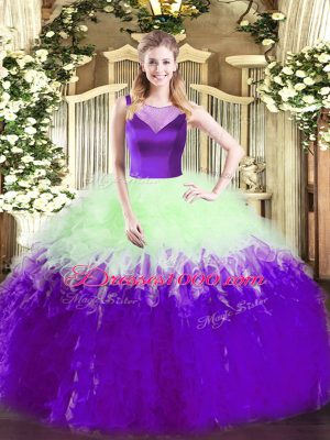 Elegant Multi-color Scoop Neckline Beading and Ruffles Quinceanera Gown Sleeveless Side Zipper