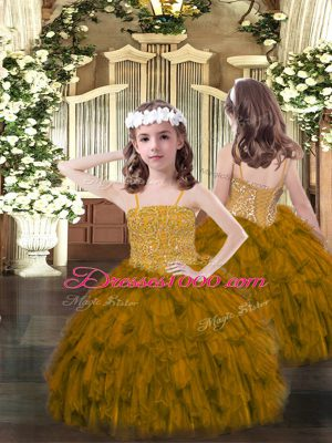 Organza Spaghetti Straps Sleeveless Lace Up Beading and Ruffles Pageant Dress for Girls in Brown