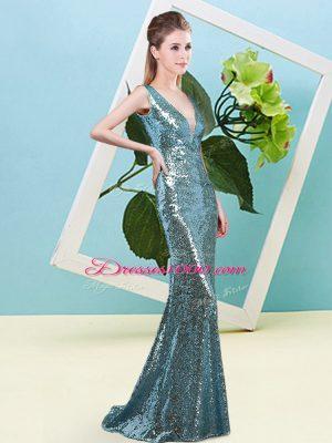 Sequins Dress for Prom Teal Zipper Sleeveless Floor Length