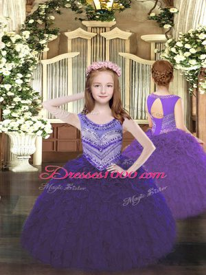 Latest Floor Length Lace Up Little Girls Pageant Dress Purple for Party and Quinceanera with Beading and Ruffles