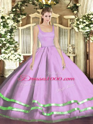 Discount Floor Length Zipper Quinceanera Gown Lavender for Military Ball and Sweet 16 and Quinceanera with Ruffled Layers