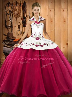 Low Price Satin and Tulle Halter Top Sleeveless Lace Up Embroidery 15 Quinceanera Dress in Hot Pink