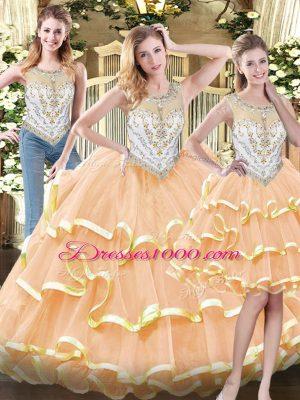 High Quality Peach Organza Zipper Scoop Sleeveless Floor Length Sweet 16 Quinceanera Dress Beading and Ruffled Layers