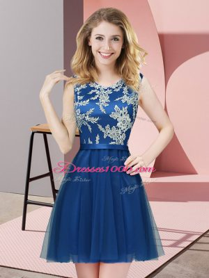 Attractive Mini Length Blue Bridesmaid Gown Scoop Sleeveless Side Zipper