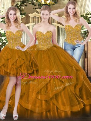 High Class Floor Length Lace Up Sweet 16 Dresses Brown for Military Ball and Sweet 16 and Quinceanera with Beading and Ruffles