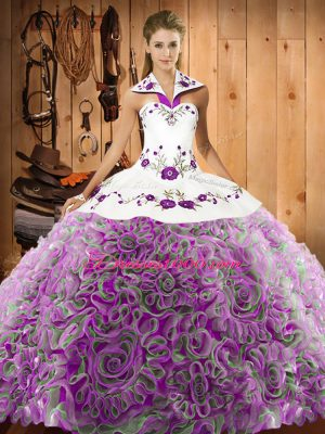 Beauteous Multi-color Ball Gowns Embroidery Quinceanera Dress Lace Up Fabric With Rolling Flowers Sleeveless