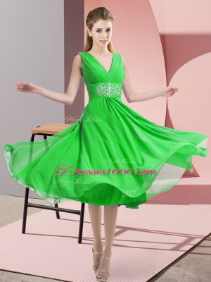 Flare Green Sleeveless Beading Knee Length Quinceanera Dama Dress