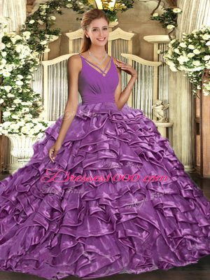 Vintage Organza Sleeveless With Train Quinceanera Dresses Sweep Train and Ruffles