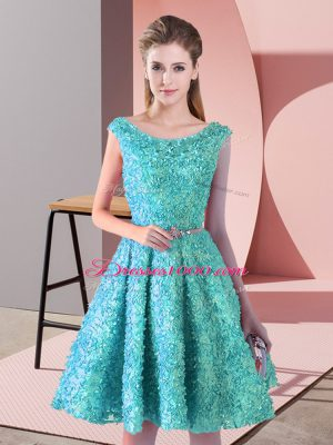 Nice Knee Length Lace Up Party Dress Aqua Blue for Prom and Party with Belt