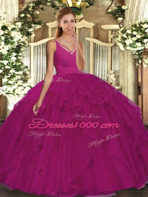 Fuchsia Backless V-neck Beading and Ruffles Quinceanera Gowns Tulle Sleeveless