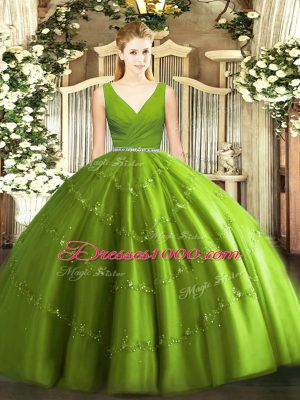 Lovely V-neck Sleeveless Zipper 15th Birthday Dress Olive Green Tulle