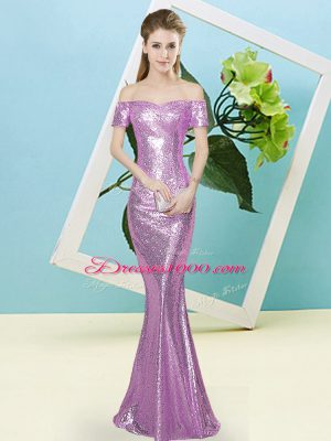 Deluxe Mermaid Teens Party Dress Lilac Off The Shoulder Sequined Short Sleeves Floor Length Zipper