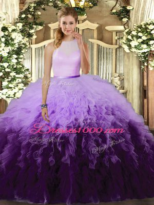Lovely High-neck Sleeveless Quince Ball Gowns Floor Length Ruffles Multi-color Tulle
