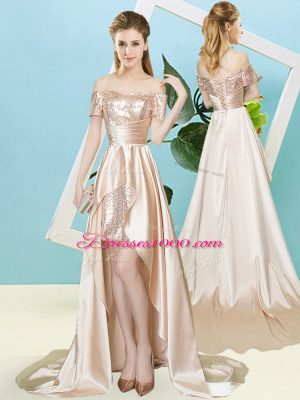 Charming Champagne Short Sleeves High Low Sequins Lace Up Prom Dress