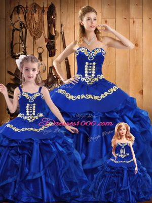 Fancy Sleeveless Floor Length Embroidery and Ruffles Lace Up Quinceanera Gown with Royal Blue