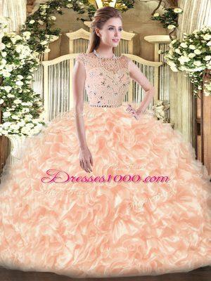 On Sale Floor Length Champagne Sweet 16 Dress Bateau Sleeveless Zipper