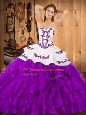 Floor Length Lace Up Sweet 16 Dress Eggplant Purple for Military Ball and Sweet 16 and Quinceanera with Embroidery and Ruffles