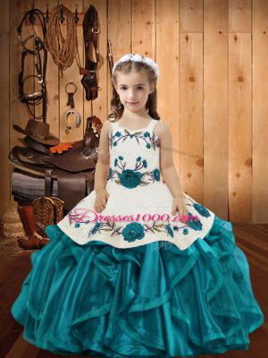 Teal Straps Lace Up Embroidery and Ruffles Pageant Gowns For Girls Sleeveless