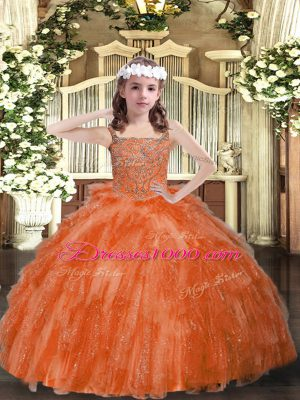 Fashion Orange Red Lace Up Straps Beading and Ruffles Child Pageant Dress Organza Sleeveless