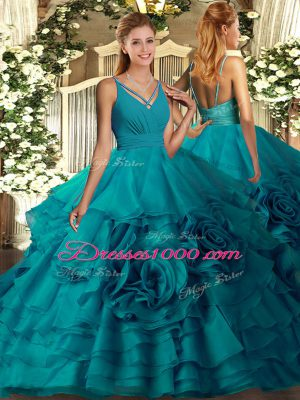 Dazzling Teal Sweet 16 Dress Sweet 16 and Quinceanera with Beading and Ruffled Layers V-neck Sleeveless Backless