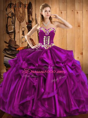 Eye-catching Fuchsia Sleeveless Floor Length Embroidery and Ruffles Lace Up Ball Gown Prom Dress