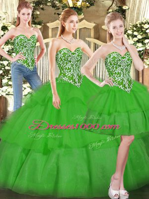 Colorful Sweetheart Sleeveless Quinceanera Dresses Floor Length Beading and Ruffled Layers Green Tulle
