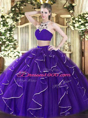 High-neck Sleeveless 15 Quinceanera Dress Floor Length Beading and Ruffles Purple Tulle