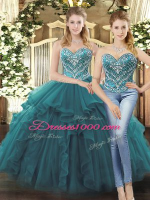 Teal Lace Up Sweetheart Beading and Ruffles Ball Gown Prom Dress Tulle Sleeveless