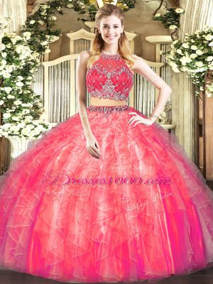 Coral Red Sleeveless Tulle Zipper Vestidos de Quinceanera for Military Ball and Sweet 16 and Quinceanera