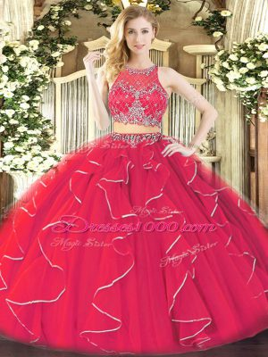 Dazzling Sleeveless Organza Floor Length Zipper Quinceanera Gown in Coral Red with Ruffles