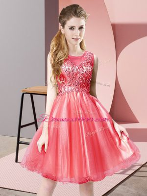 New Style Knee Length Coral Red Prom Dresses Tulle Sleeveless Beading