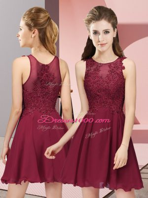 Mini Length Burgundy Bridesmaid Dress Scoop Sleeveless Zipper