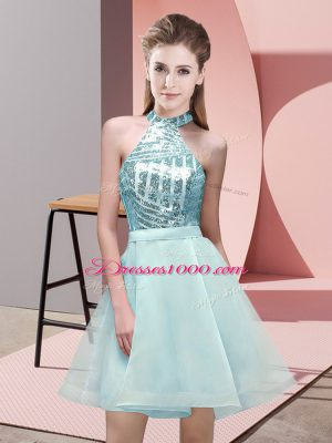 Dazzling Aqua Blue Chiffon Backless Halter Top Sleeveless Mini Length Wedding Party Dress Sequins