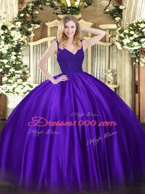 Dynamic Purple Ball Gowns Beading Quinceanera Dress Zipper Taffeta Sleeveless Floor Length