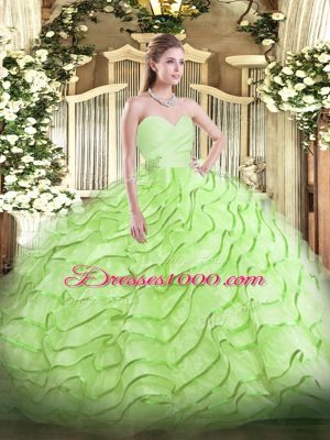 Flare Sweetheart Sleeveless Organza Quinceanera Dresses Beading and Ruffled Layers Brush Train Lace Up