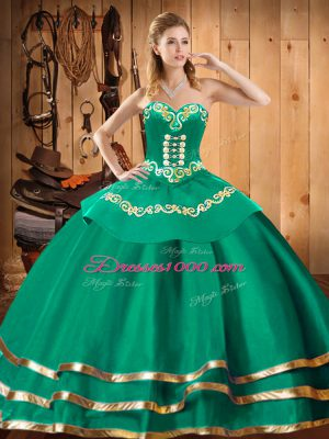 Custom Designed Organza Sweetheart Sleeveless Lace Up Embroidery 15th Birthday Dress in Turquoise
