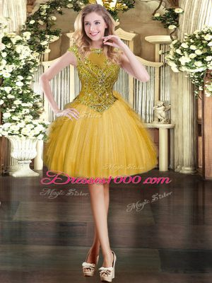 Customized Mini Length Gold Party Dress for Toddlers Scoop Cap Sleeves Zipper