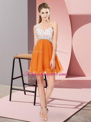 Orange Criss Cross One Shoulder Beading Casual Dresses Chiffon Sleeveless